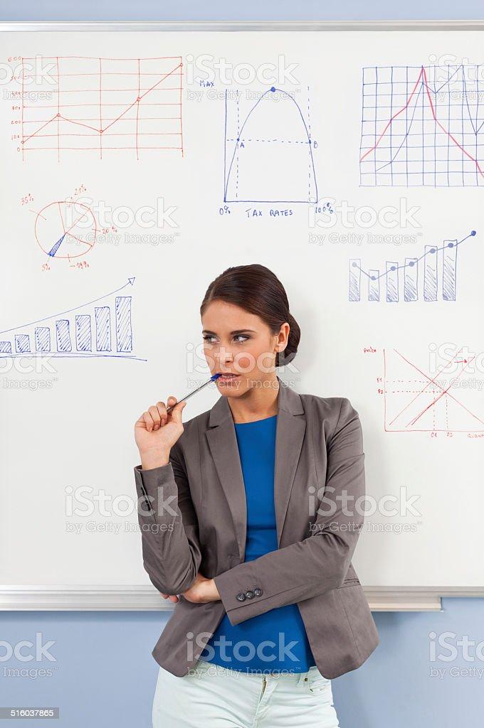 Female teacher Portrait of pensive female teacher standing against the whiteboard. 30-39 Years Stock Photo