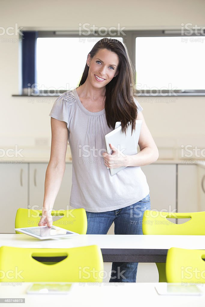 Female Teacher Preparing for a Lesson royalty-free stock photo