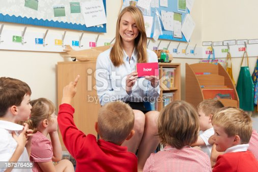 181085327 istock photo Female teacher showing flash cards to elementary students 187376458