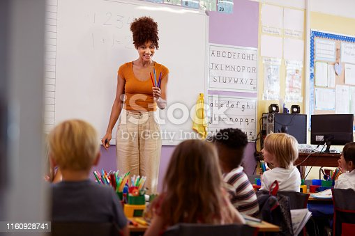 1160928955 istock photo Female Teacher Standing At Whiteboard Teaching Maths Lesson To Elementary Pupils In School Classroom 1160928741