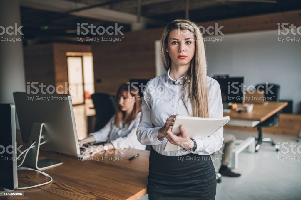 Female teamleader in creative office stock photo