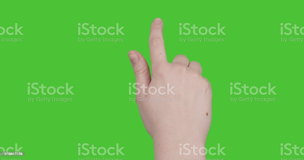female teen hand 13 gestures for tablet pc or smartphone keyed on green screen stock photo
