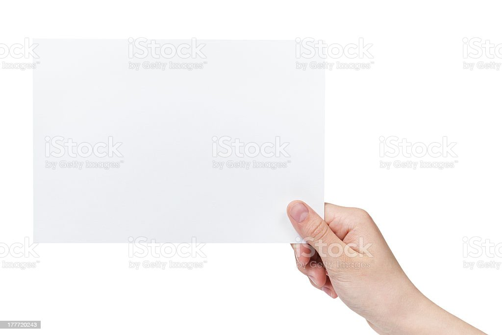 female teen hand holding blank paper a5 sheet royalty-free stock photo