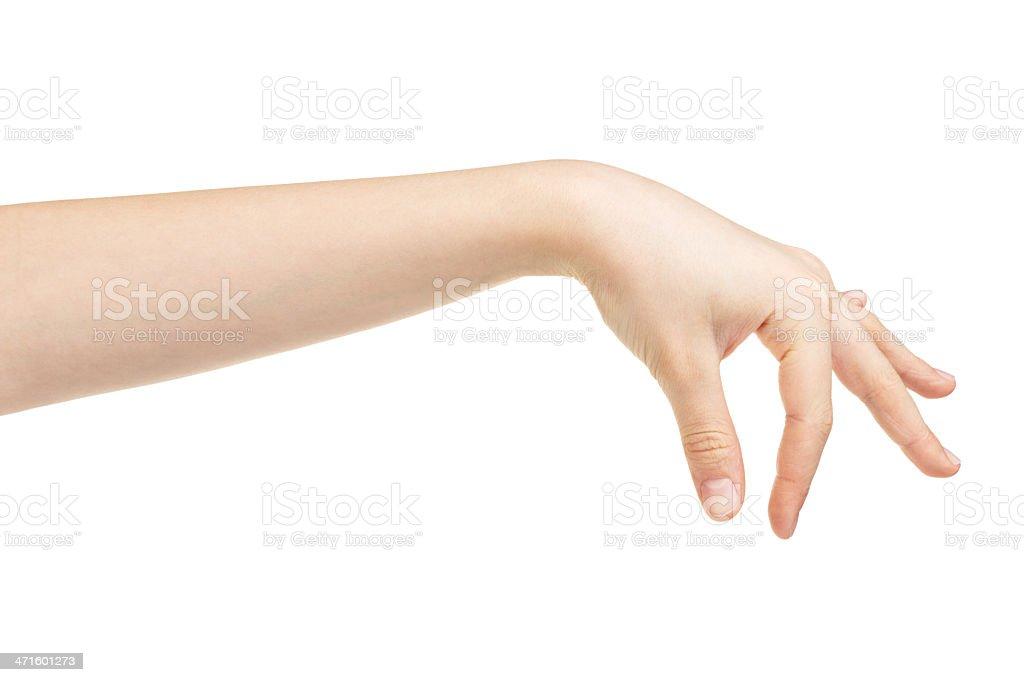 female teen hand holding something stock photo