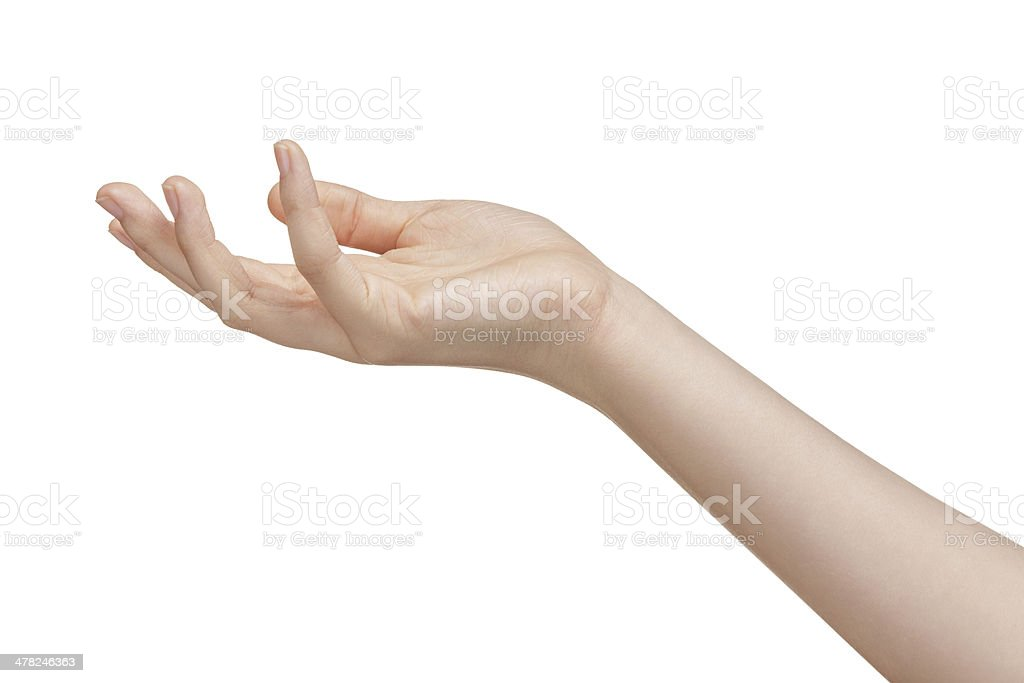 female teen hand to hold something stock photo
