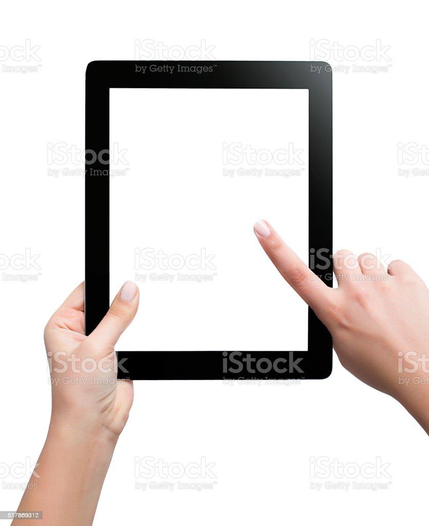 Weibliche Teenager Hände mit tablet pc mit weißer Bildschirm Isoliert – Foto