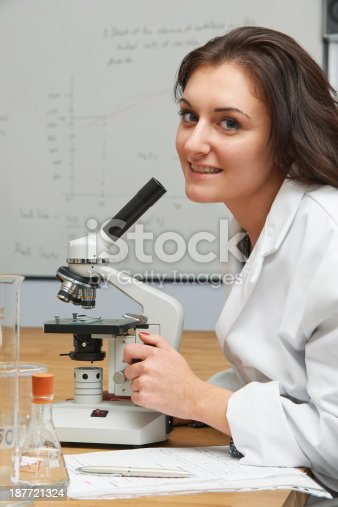 1097006206 istock photo Female Teenage Student Using Microscope In Science Class 187721324