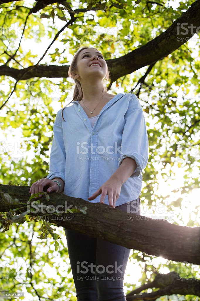 female teenager standing in a tree and look up royalty-free stock photo