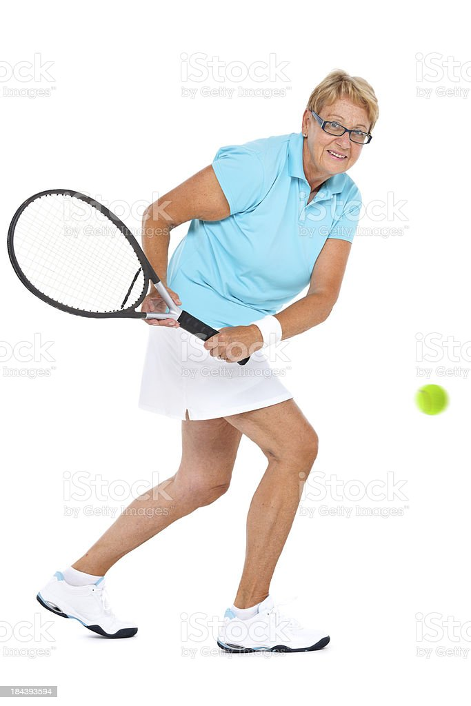 female tennis player during backhand royalty-free stock photo