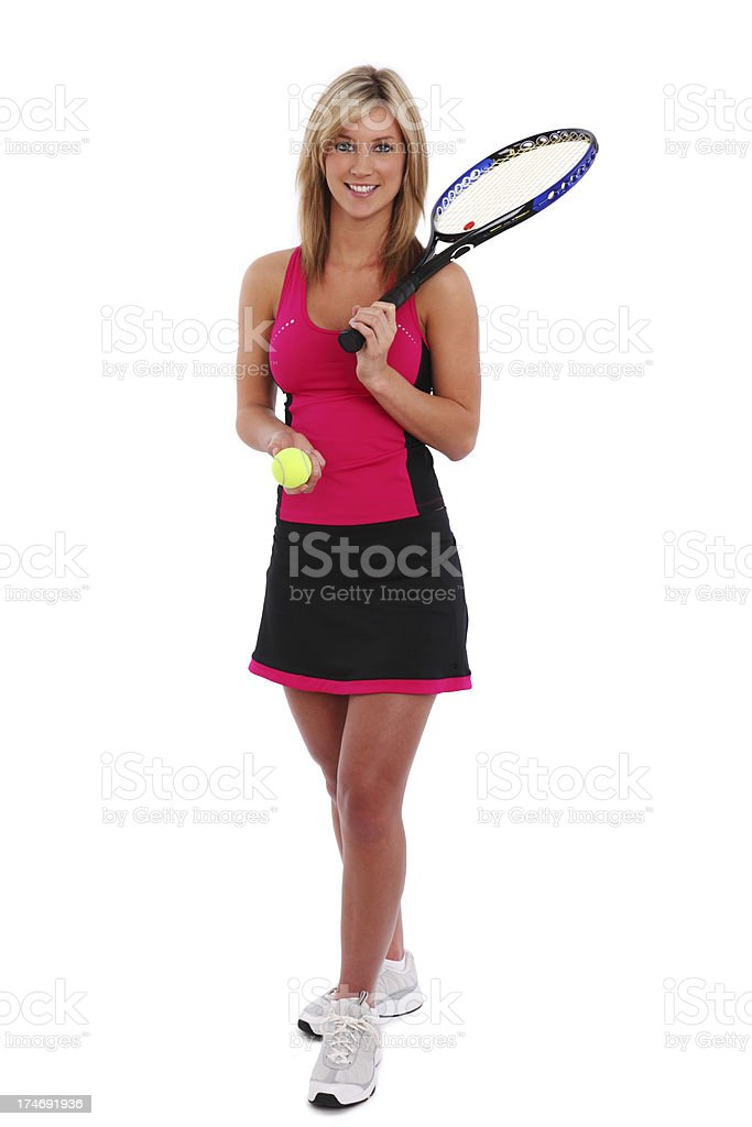 Female Tennis Player Isolated On White royalty-free stock photo