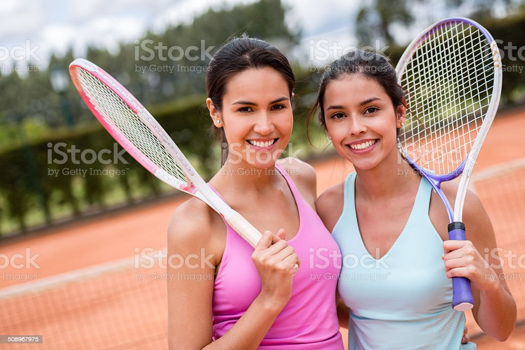 Female tennis players stock photo