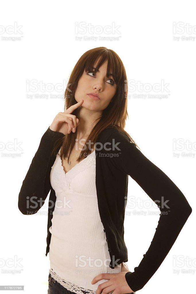 Female thinking on white background royalty-free stock photo