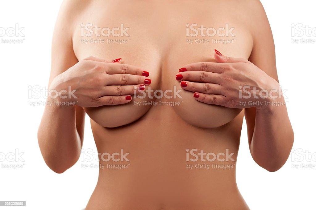 Female Torso With Hands Covering Breasts Stock Photo More Pictures