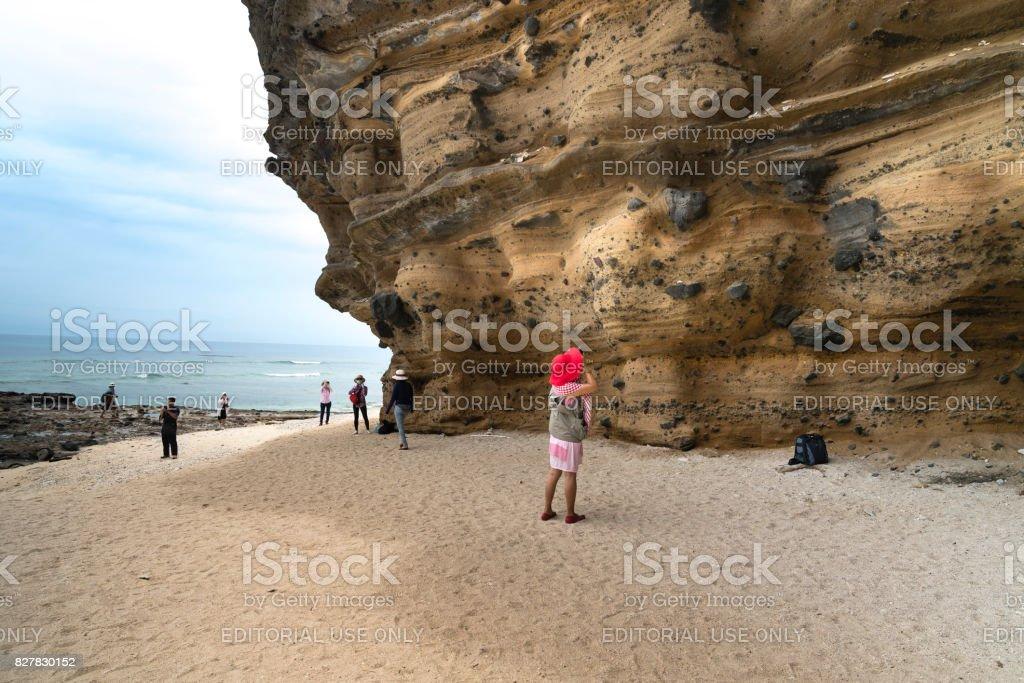 female tourist at Hang Cau resort at Ly Son Island stock photo