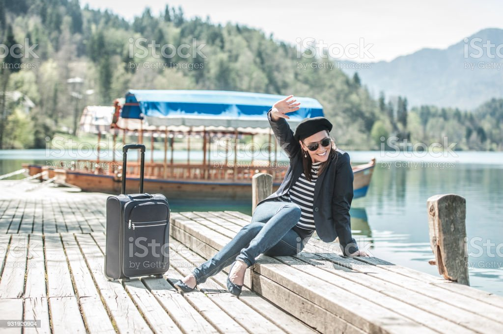 Female Tourist Having Fun On Vacations In Bled Slovenia Royalty Free Stock Photo