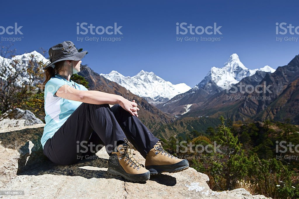 Female tourist looking at Mount Ama Dablam royalty-free stock photo