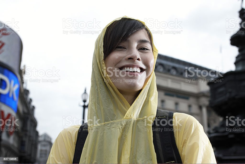 Female tourist wearing waterproof royalty free stockfoto
