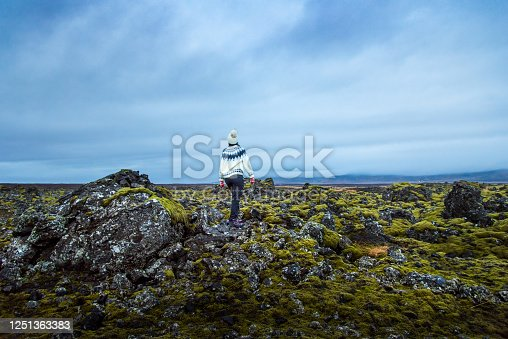 Female traveler exploring scenic lava fields in Iceland on a golden circle route back view