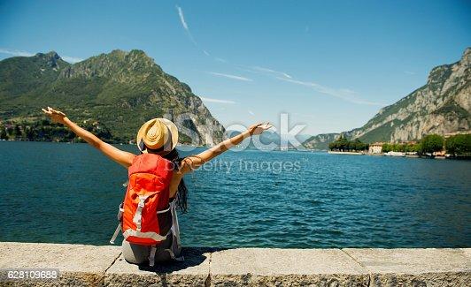 istock Female traveler. 628109688