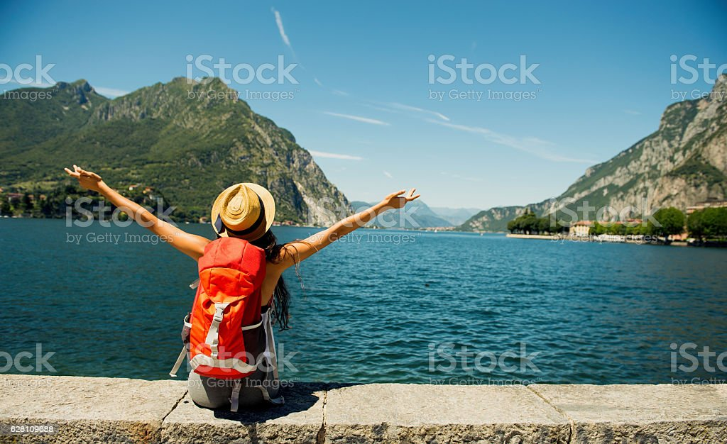 Female traveler. stock photo