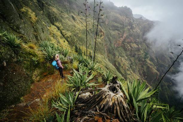 weiblichen reisenden bleiben auf dem cove vulkan stand über dem nebligen grüne tal mit agaven bewachsen insel santo antao in cabo verde - kapverdische inseln stock-fotos und bilder