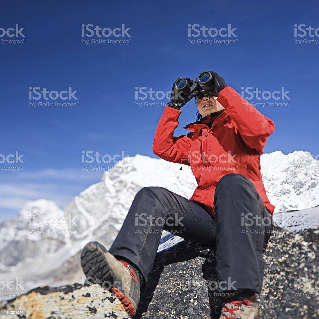 Female trekker in Himalayas, Mount Everest National Park royalty-free stock photo