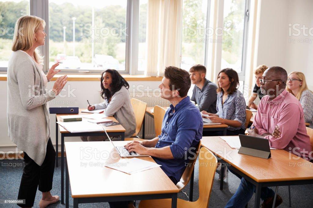 成熟學生的女家教課 - 免版稅20多歲圖庫照片