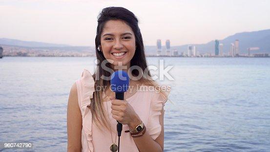 Female TV reporter.