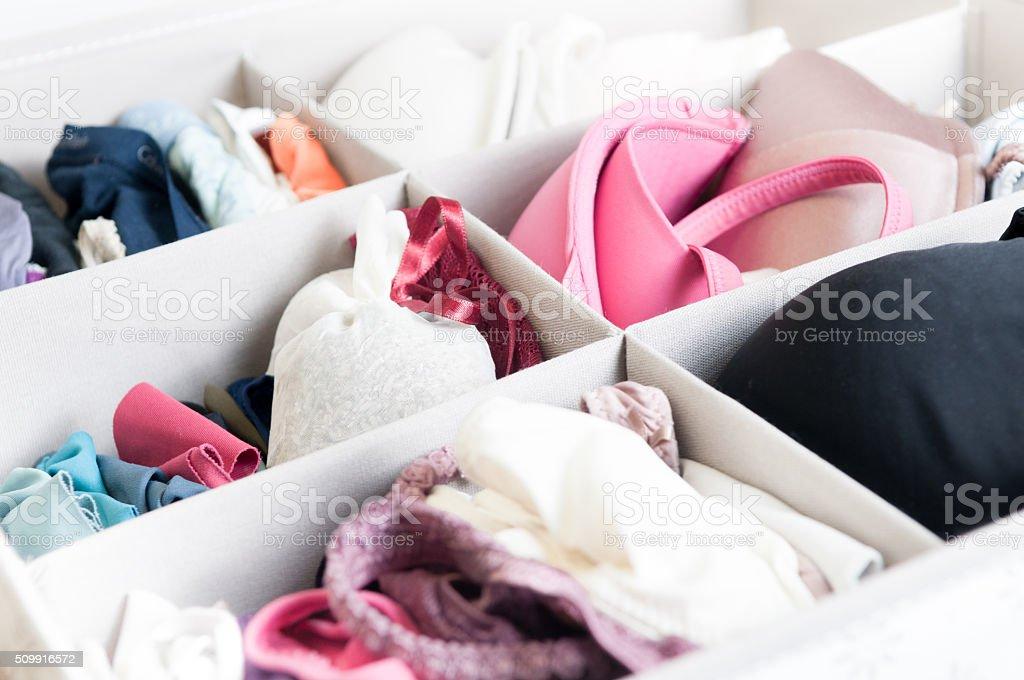 Female underware drawer stock photo
