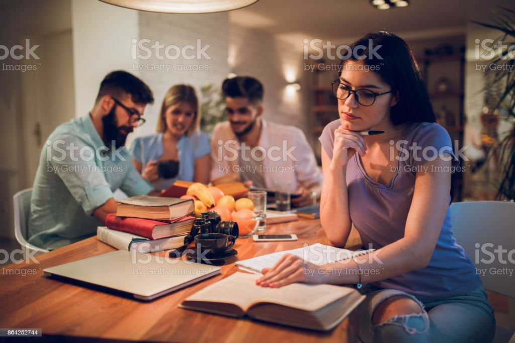 Female university student learning for the exams royalty-free stock photo
