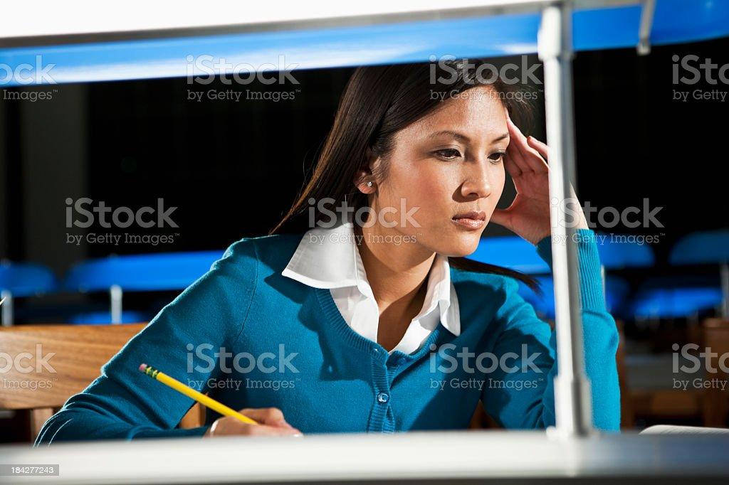 Female university student studying royalty-free stock photo