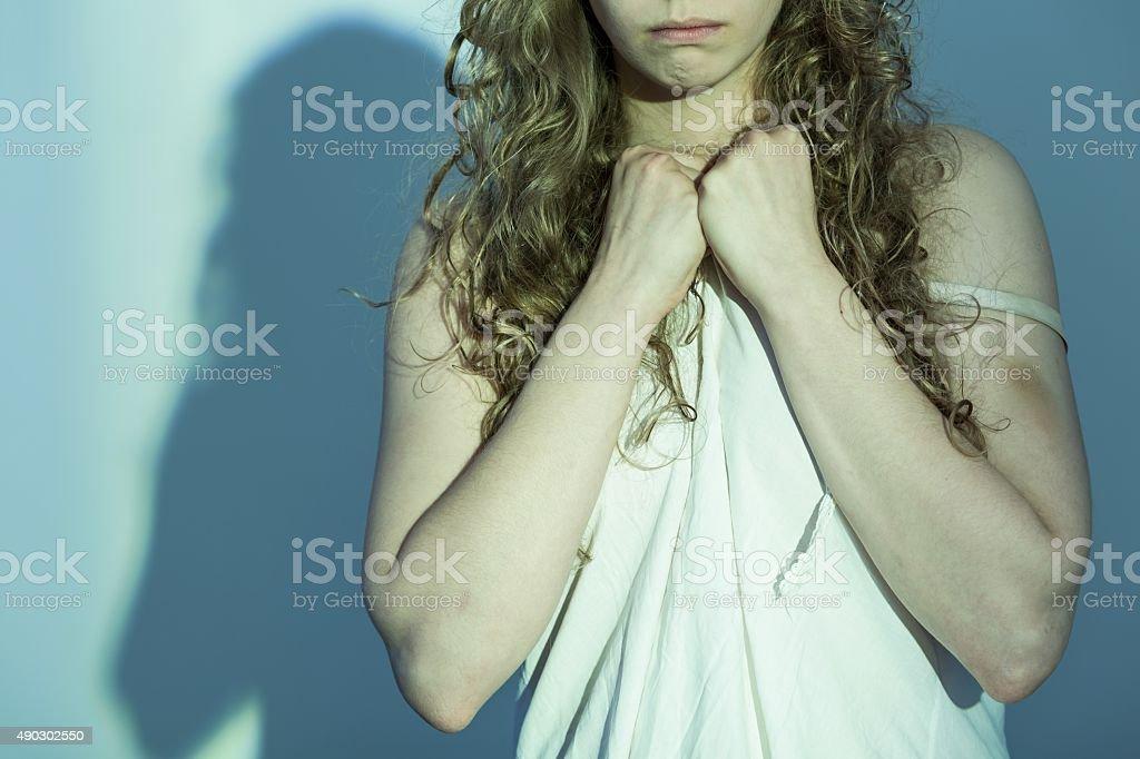 Female victim of rape stock photo