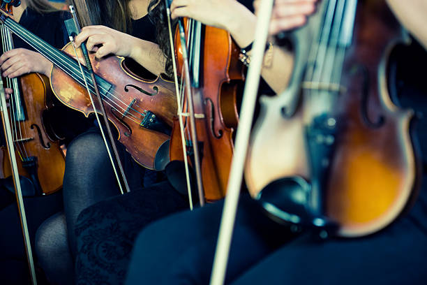 Female Violinists Preparing for Classical Concert Symphony music, violinists at concert, hand close up. string instrument stock pictures, royalty-free photos & images