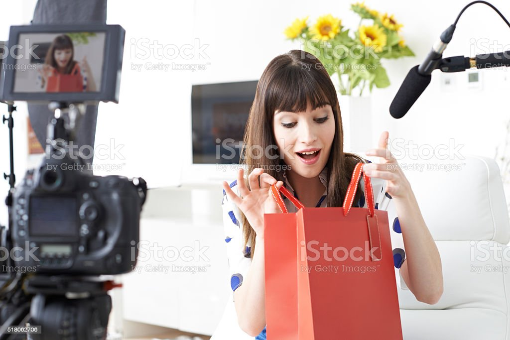 Female Vlogger Recording Broadcast At Home stock photo