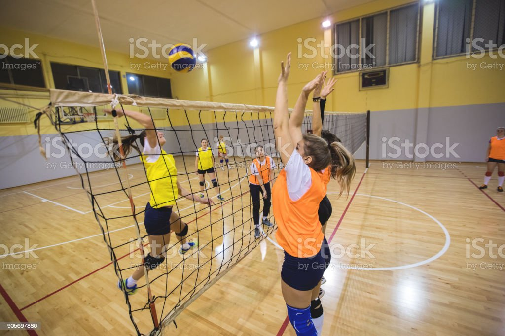 Female volleyball defence stock photo