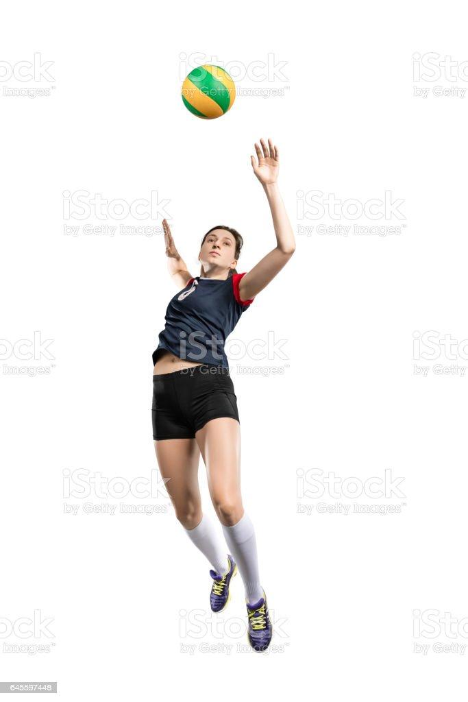 Femme frapper le ballon Joueur de volleyball  photo libre de droits