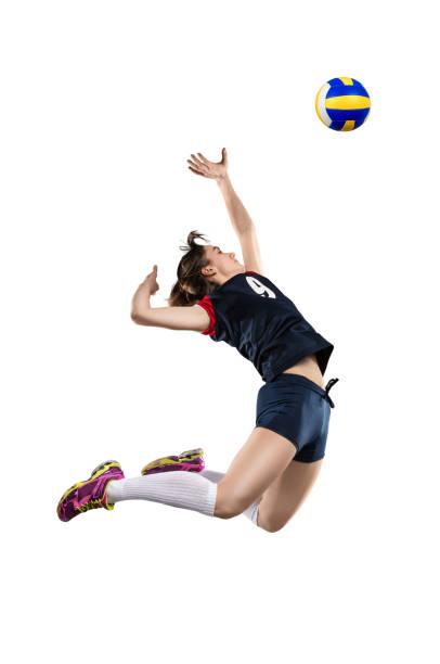 女子排球運動員擊球 - 殺球 個照片及圖片檔