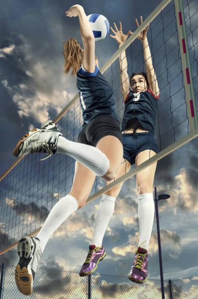 女子排球運動員起跳特寫 - 殺球 個照片及圖片檔