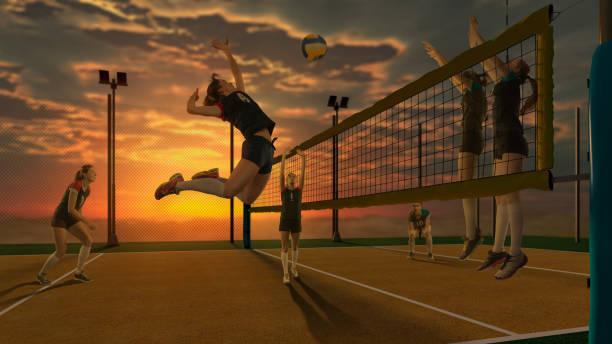 女子排球運動員打上日落背景 - 殺球 個照片及圖片檔