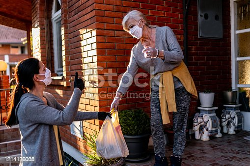 istock Female volunteer bringing groceries to a senior woman at home 1214126038