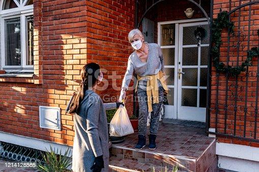 Female volunteer bringing groceries to a senior woman at home