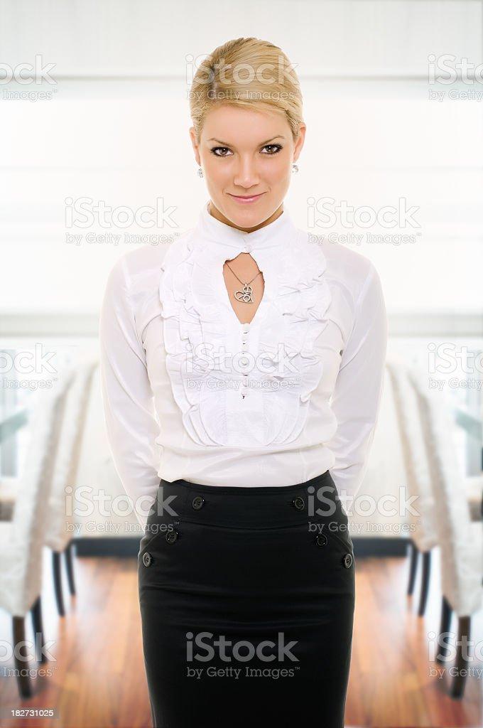 Female waiter royalty-free stock photo