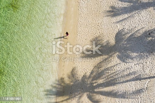 istock Female walking along perfect beach with palms and clear water 1181651991