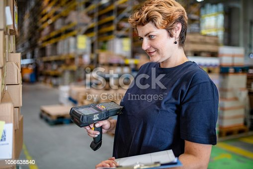 istock Female warehouse worker at work 1056638840