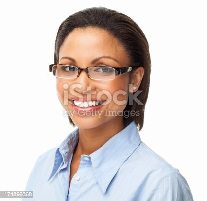 Portrait of pretty young African American female in formal shirt wearing spectacles. Square. Isolated on white.
