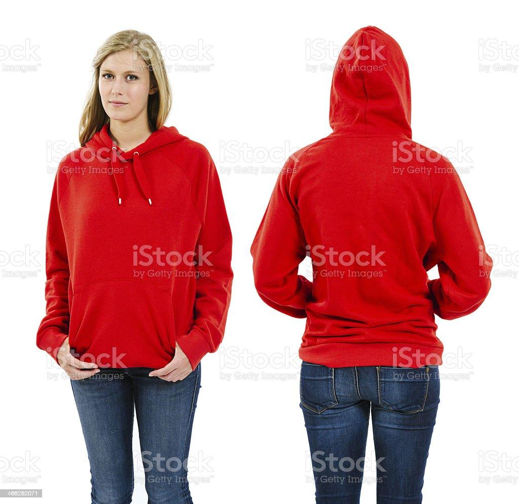 Female wearing blank red hoodie stock photo