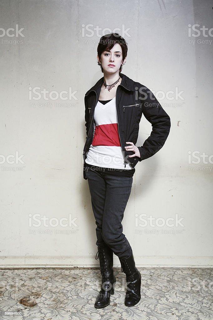 Female Wearing Leather Jacket Posing Portrait royalty-free stock photo