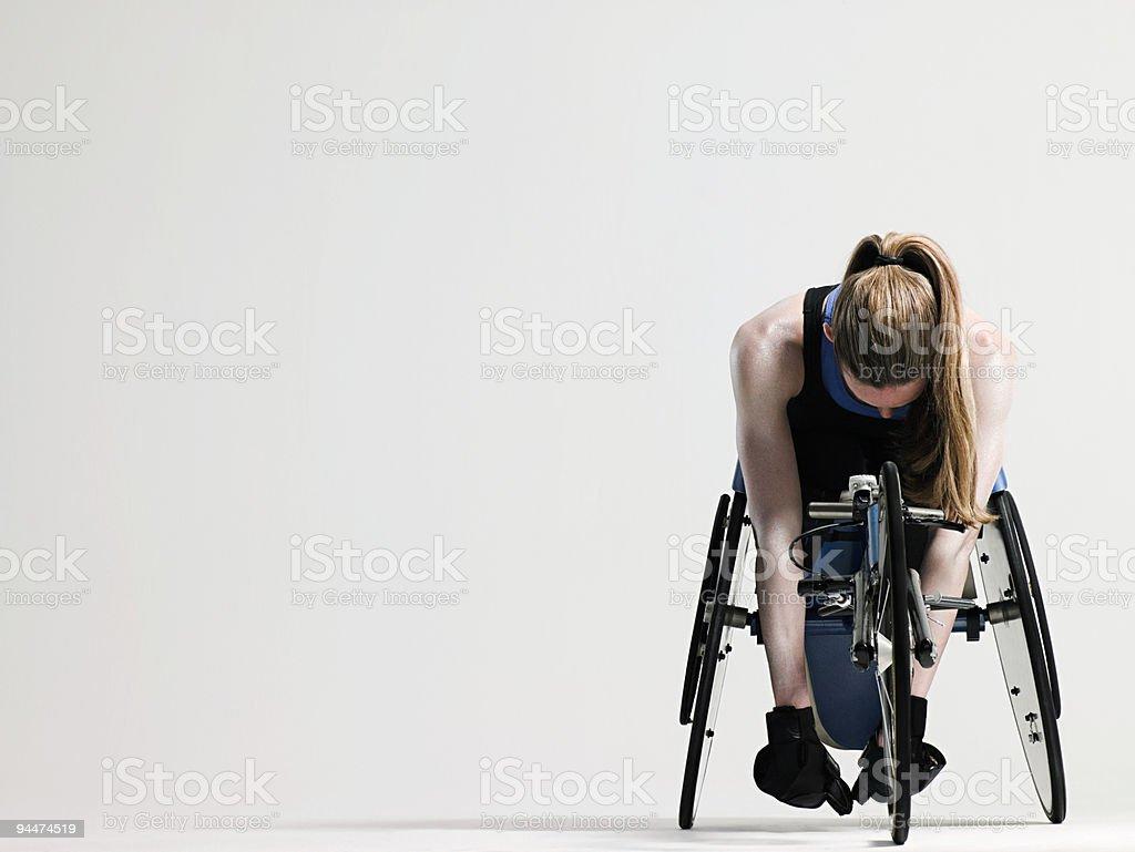 Mulher de Atleta de cadeira de rodas - foto de acervo