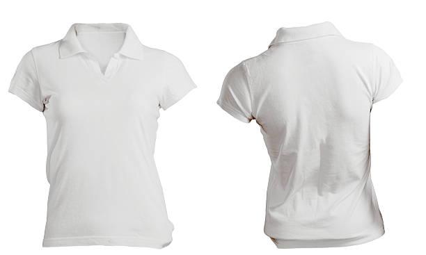 Female white polo shirt template stock photo