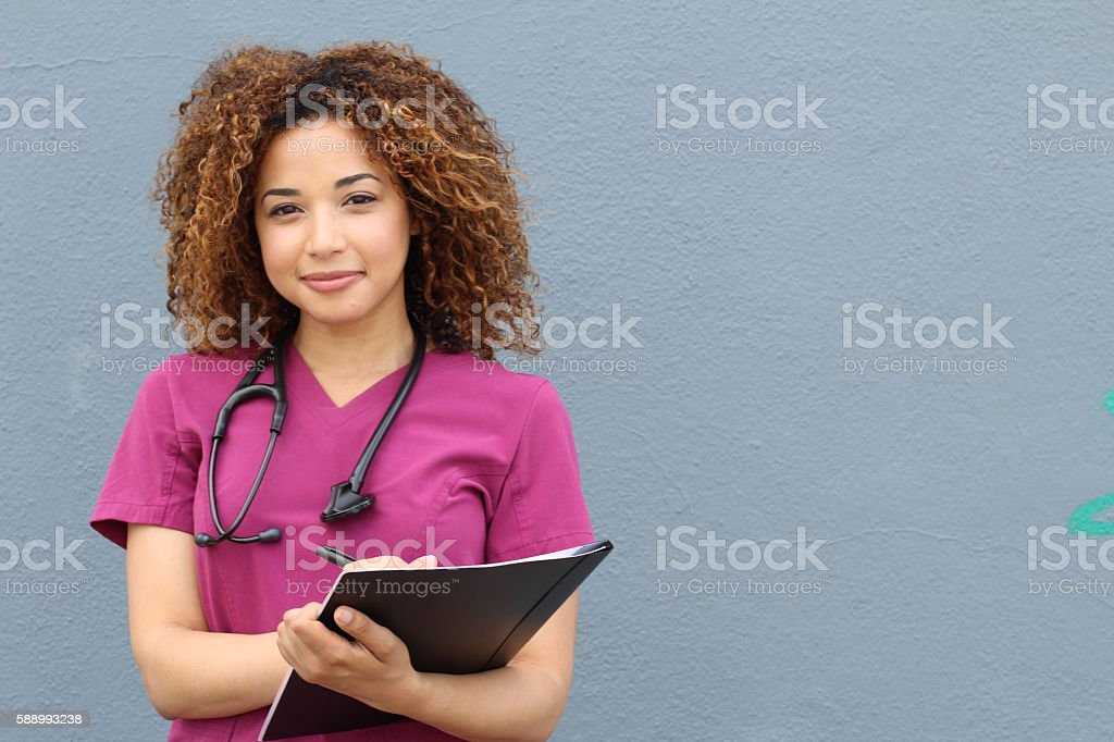 Female who is going to nursing school stock photo